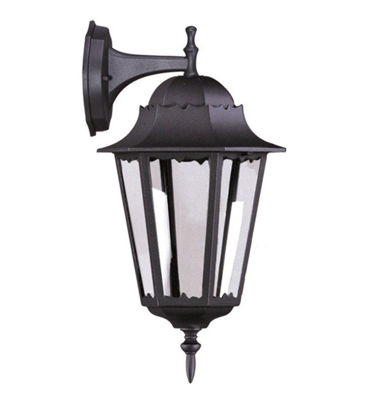 Kinkiet ogrodowy Lozana czarny styl klasyczny latarenka klosz w dół
