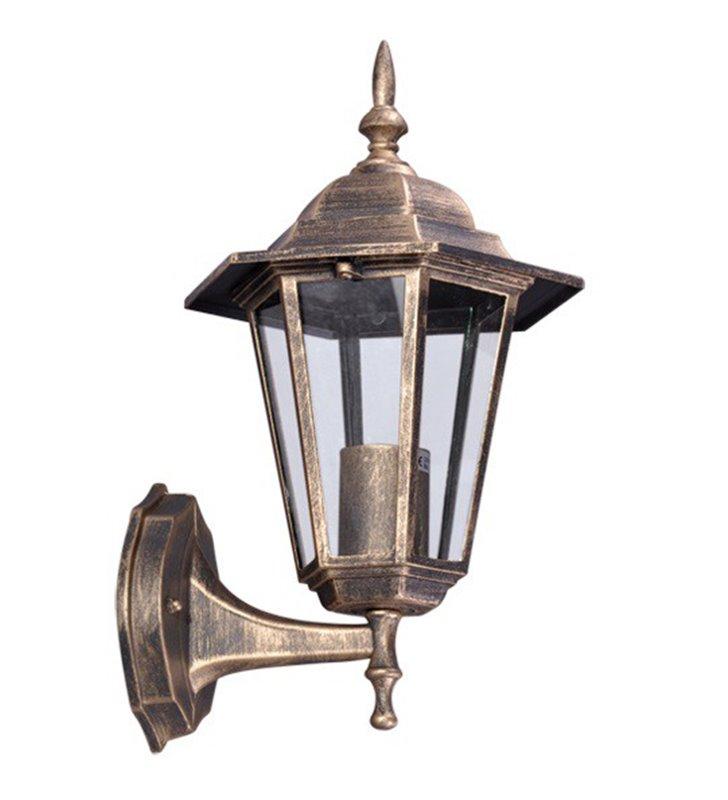 Kinkiet ogrodowy latarenka Standard czarno złoty klosz w górę - DOSTĘPNY OD RĘKI