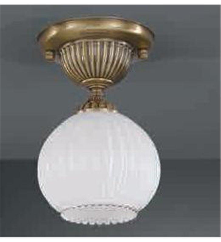 Mała włoska lampa sufitowa Pescara klosz biała kula mosiądz