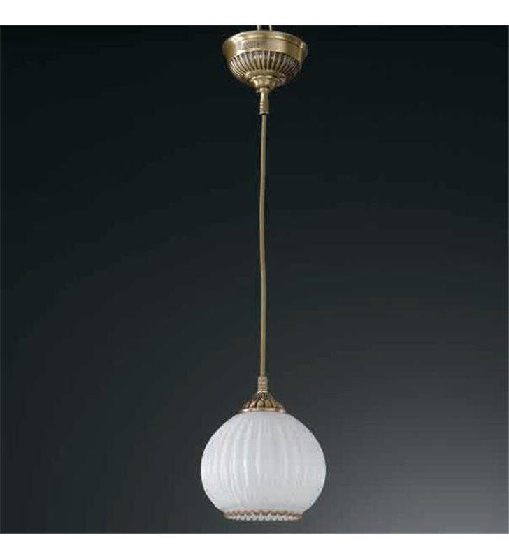Lampa wisząca Pescara pojedyncza klosz biała kula mosiądz