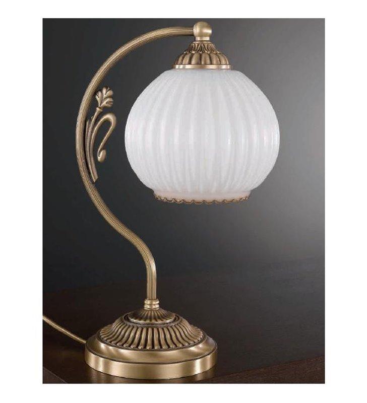 Lampa stołowa Pescara klosz biała kula mosiądz