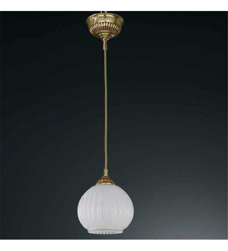 Lampa wisząca Pescara pojedyncza klosz biała kula złota