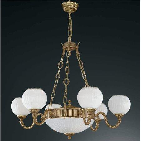 Żyrandol w kolorze złotym Pescara klasyczny włoski 6 ramienny z amplą