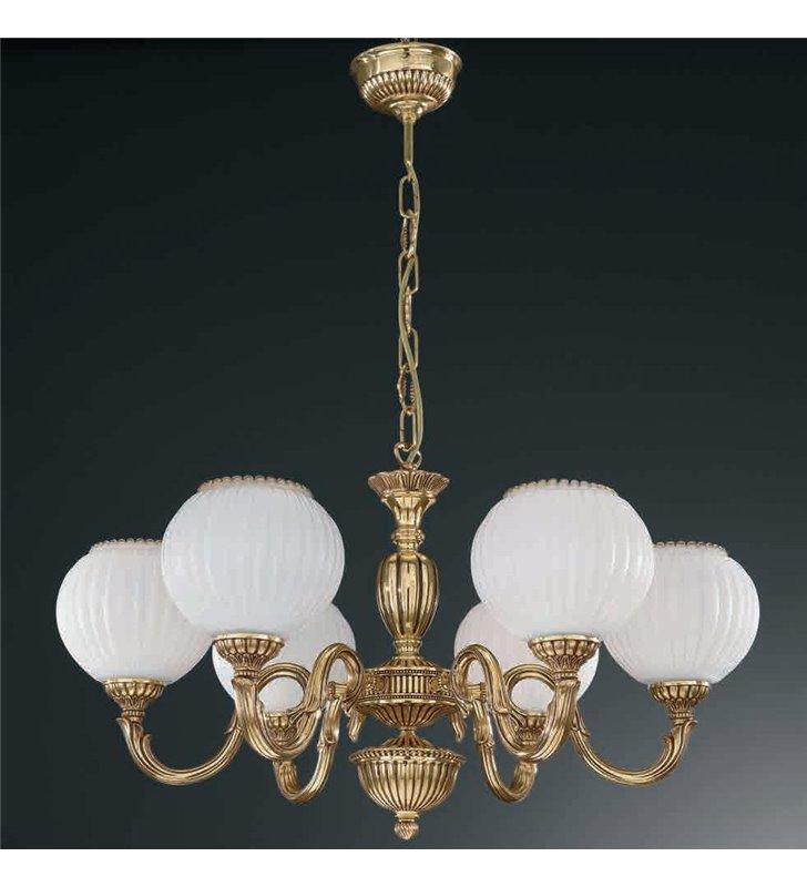 Żyrandol w kolorze złotym Pescara klasyczny włoski 6 ramienny