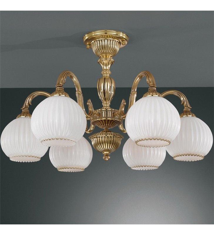 Żyrandol w kolorze złotym Pescara klasyczny krótki włoski 6 ramienny
