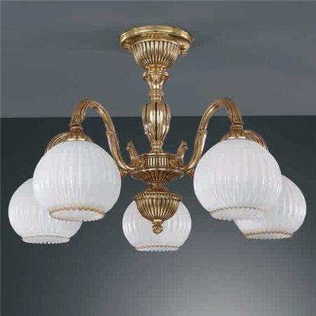 Żyrandol w kolorze złotym Pescara klasyczny krótki włoski 5 ramienny