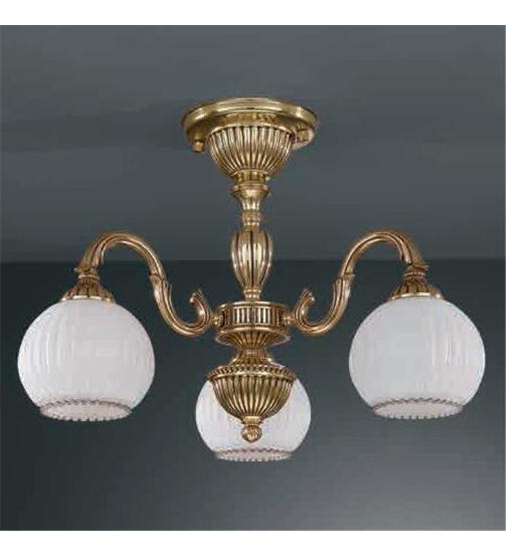 Żyrandol w kolorze złotym Pescara klasyczny krótki włoski 3 ramienny