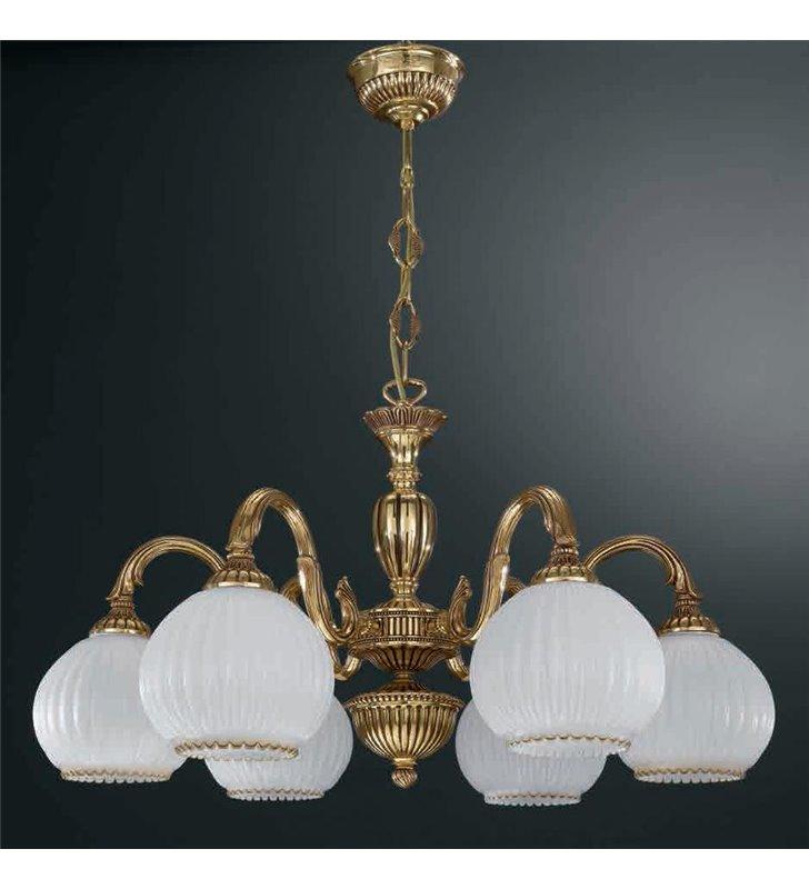 Żyrandol w kolorze złotym Pescara klasyczny włoski 6 płomienny