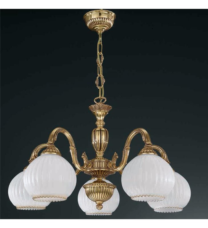 Żyrandol w kolorze złotym Pescara klasyczny włoski 5 płomienny