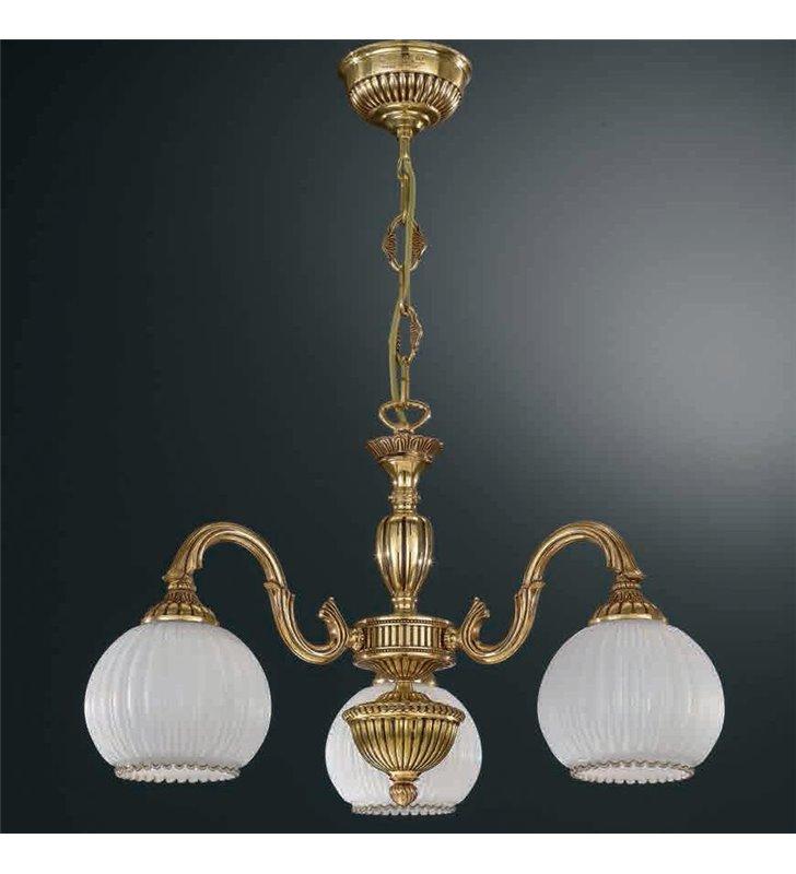 Żyrandol w kolorze złotym Pescara klasyczny włoski 3 płomienny