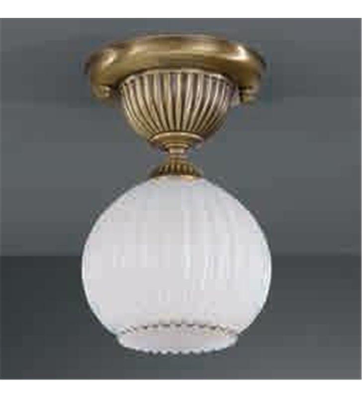 Lampa sufitowa Cesenatico klosz biała kula mosiądz