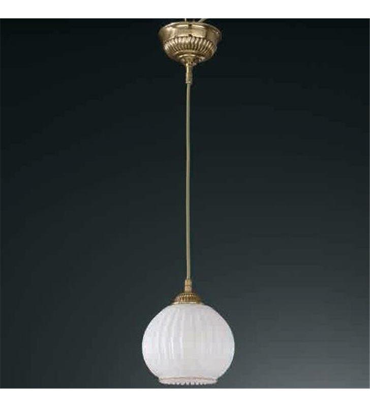 Lampa wisząca Cesenatico złota pojedyncza klosz biała kula