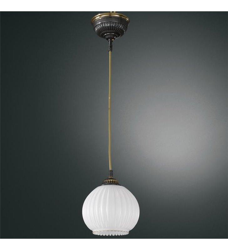 Lampa wisząca Roccagorga pojedyncza klosz biała kula