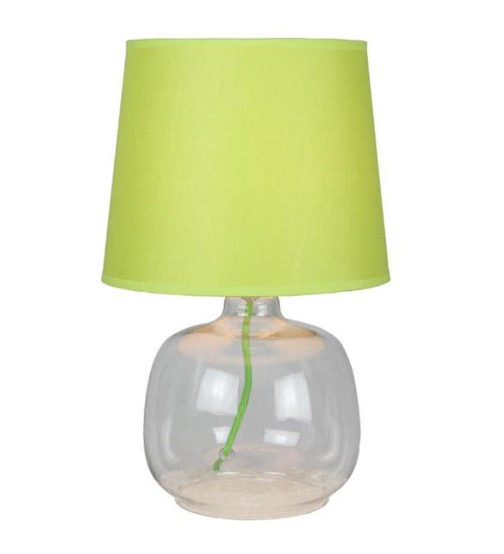 Lampa stołowa Mandy szklana podstawa zielony abażur
