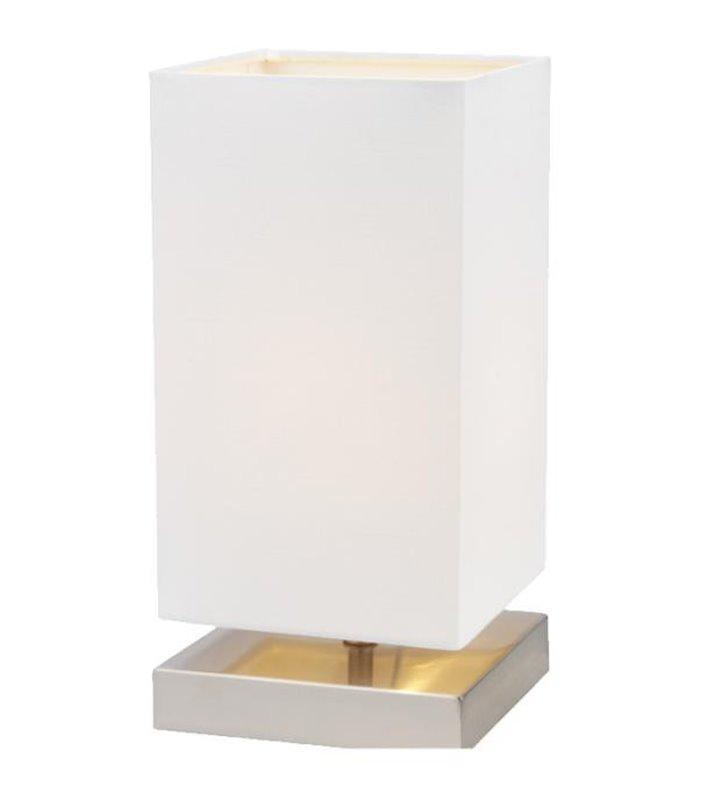 Lampa stołowa Nanga biała abażur ze ściemniaczem