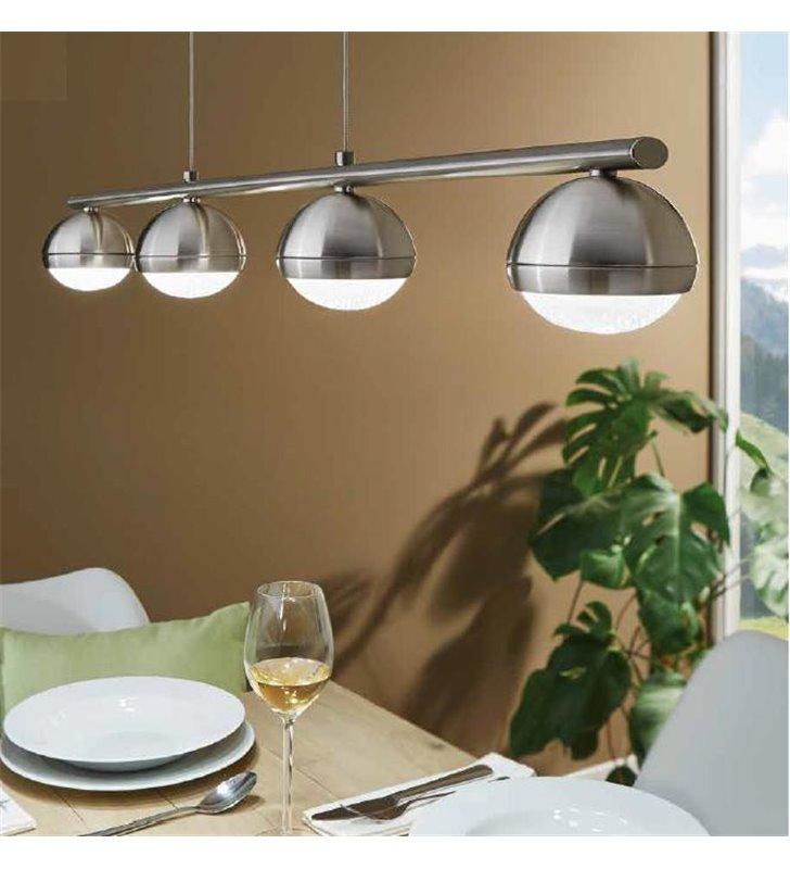 Lampa wisząca Lombes podłużna listwa z 4 kloszami kulami nad stół do jadalni
