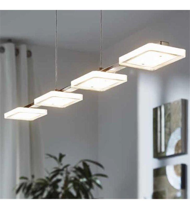 Lampa wisząca Cartama podłużna listwa z 4 kloszami nad stół do jadalni LED