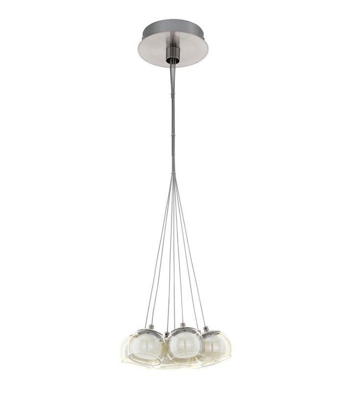 Lampa wisząca Poldras 7 punktowa na jednej podsufitce podwójne szklane klosze biały i bursztynowy