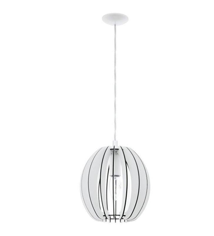 Lampa wisząca Cossano biała drewniana kula 190