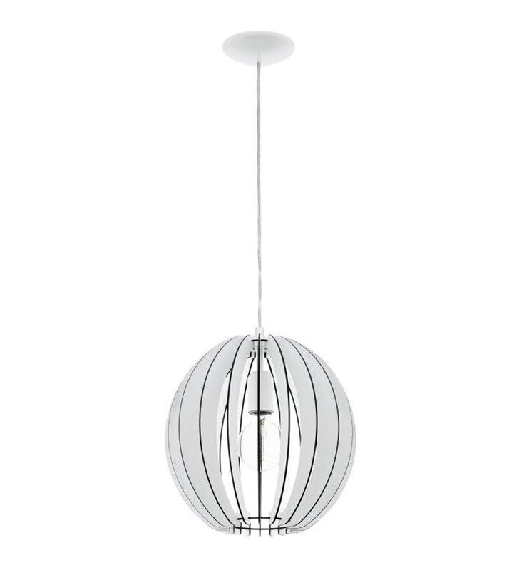 Lampa wisząca Cossano biała drewniana kula 300