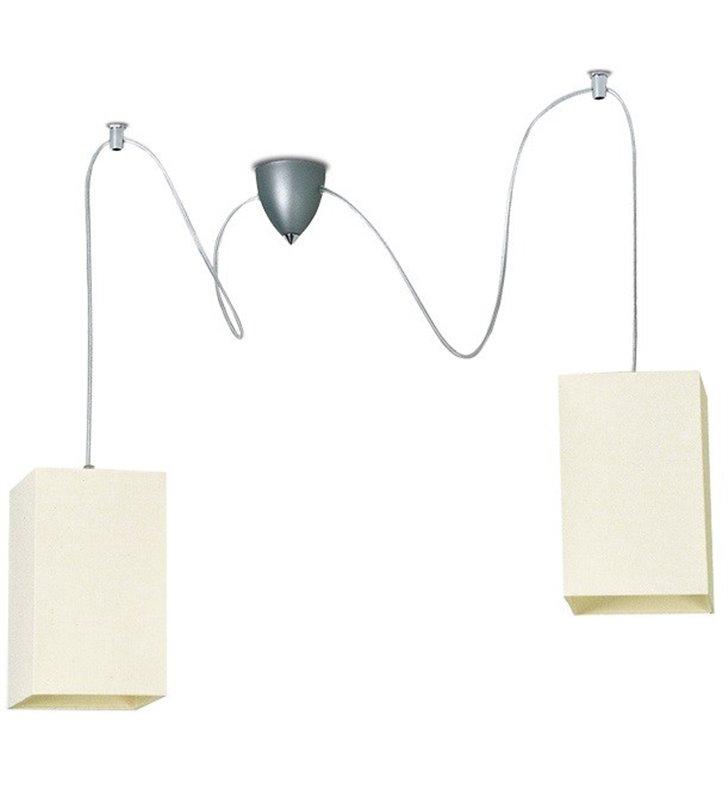 Lampa wisząca Piko podwójna ecru dwa zwisy na małej podsufitce