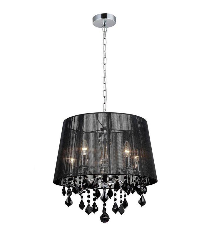 Lampa wisząca Cornelia świecznikowa czarny abażur czarne kryształki