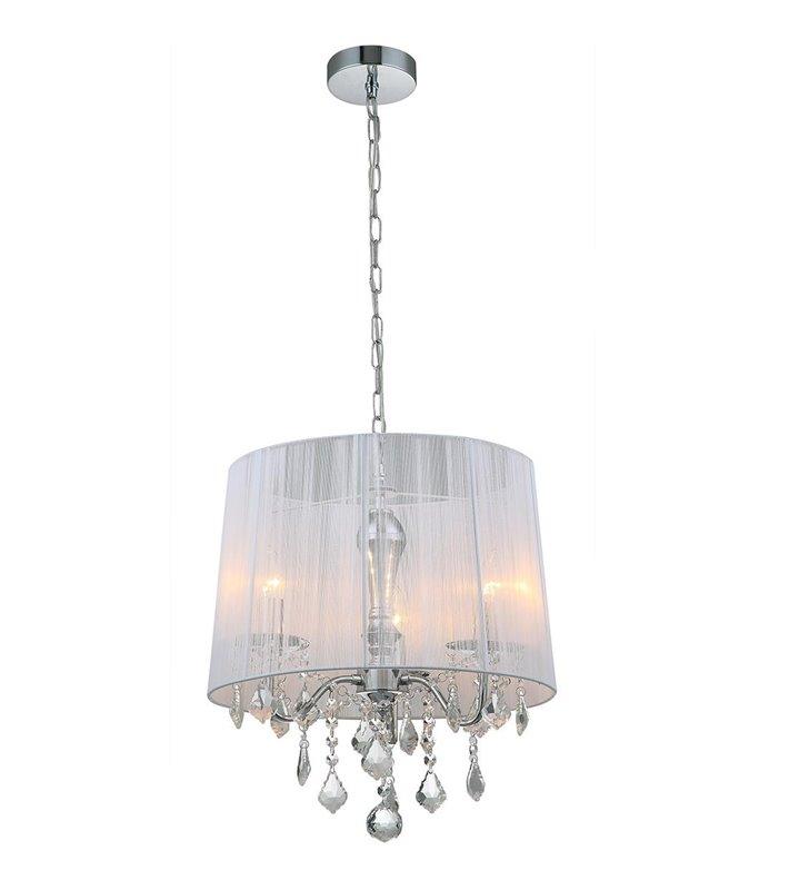 Lampa wisząca Cornelia świecznikowa biały abażur z kryształami