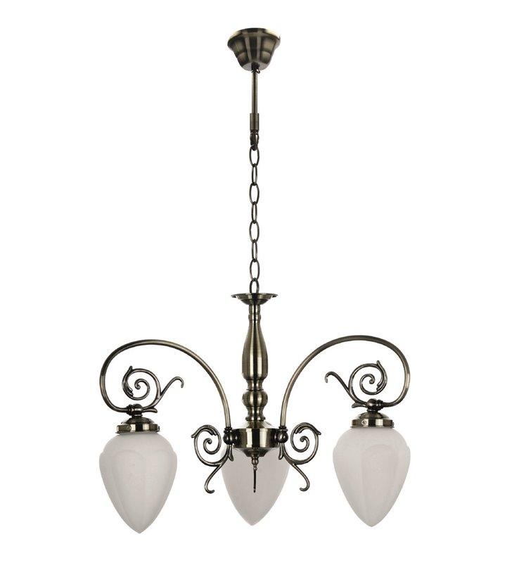 Żyrandol Bossa 3 ramienny ozdobny kolor patyna do eleganckiego salonu w stylu klasycznym