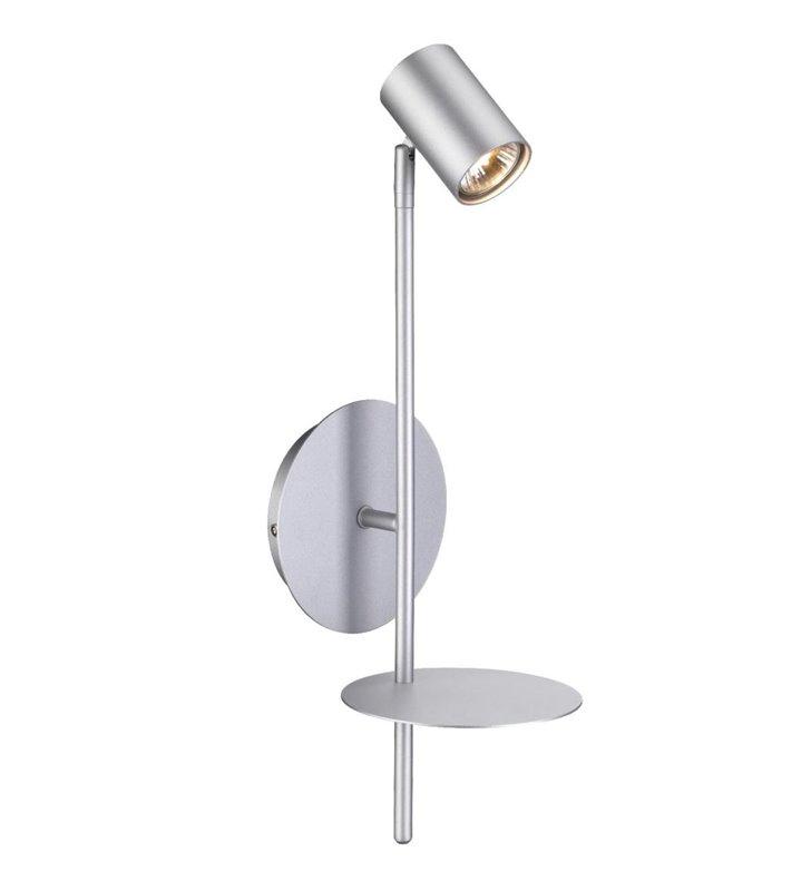Kinkiet Rogna srebrny z półką nowoczesny styl do salonu sypialni przedpokoju