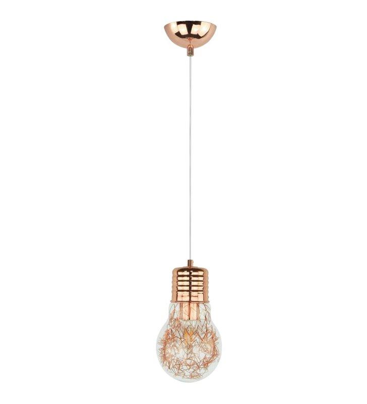 Miedziana lampa wisząca Bulb żarówka