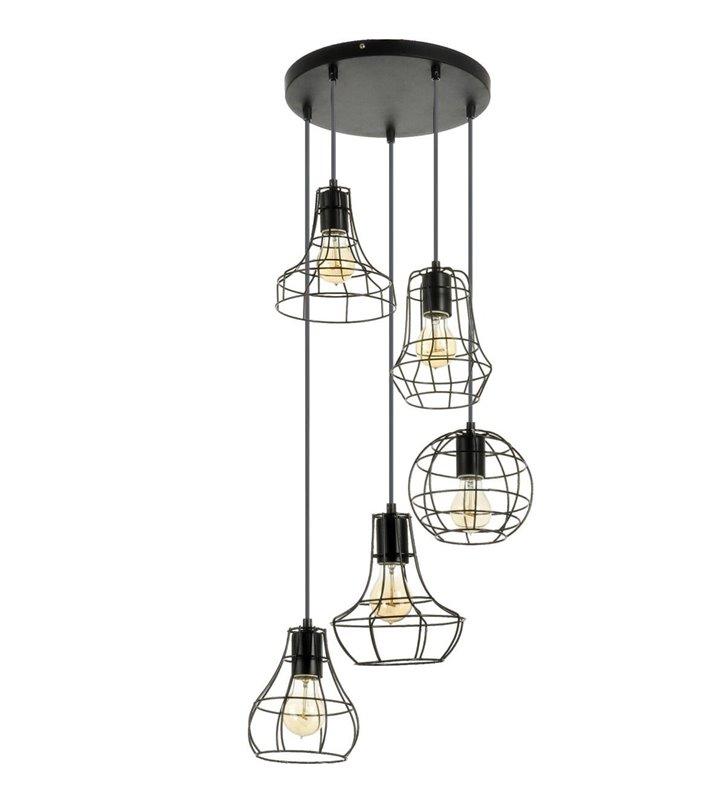 Lampa wisząca Outline czarna 5 punktowa spirala w stylu industrialnym loftowym klosz druciany ażurowy