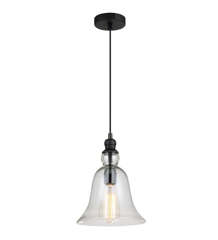 Lampa wisząca Irene pojedyncza w stylu retro bezbarwny szklany klosz