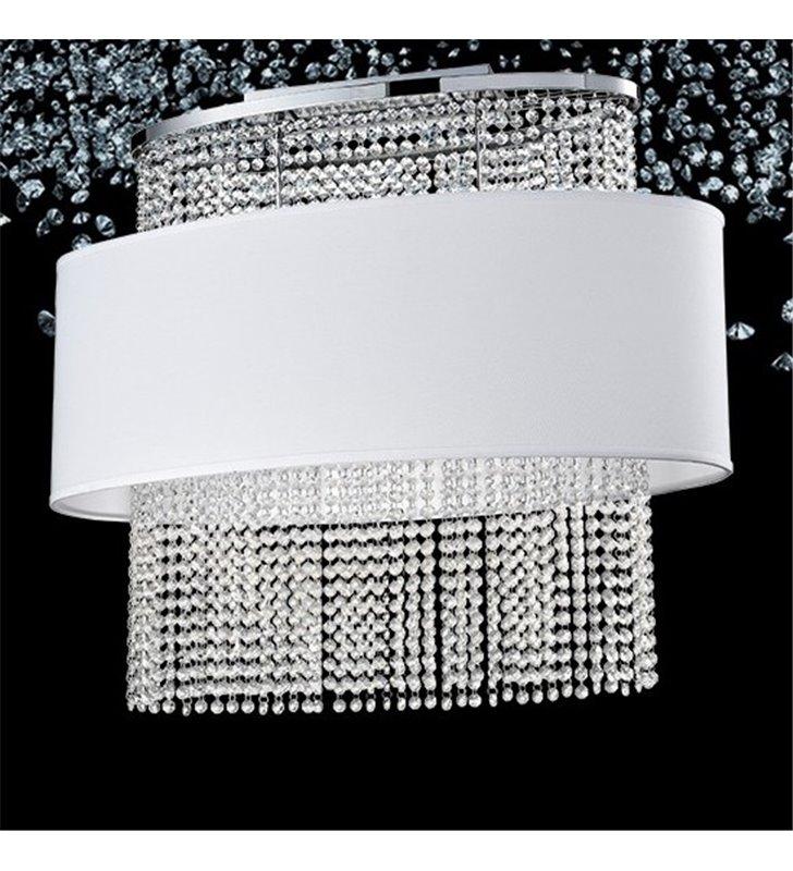 Kryształowa lampa wisząca sufitowa Waterfall z materiałowym białym abażurem