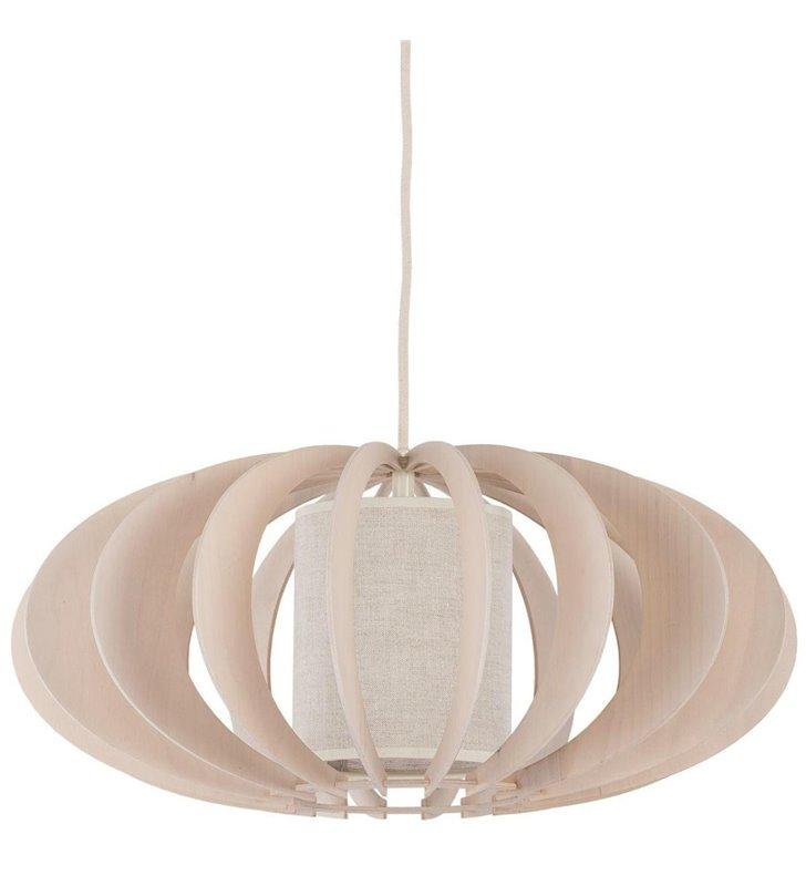 Lampa wisząca Keiko z drewna bielona brzoza z dodatkowym materiałowym abażurem
