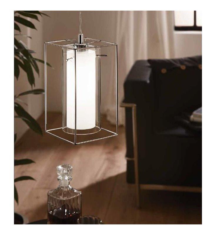 Loncino1 pojedyncza lampa wisząca z podwójnym szklanym kloszem i metalową ramką