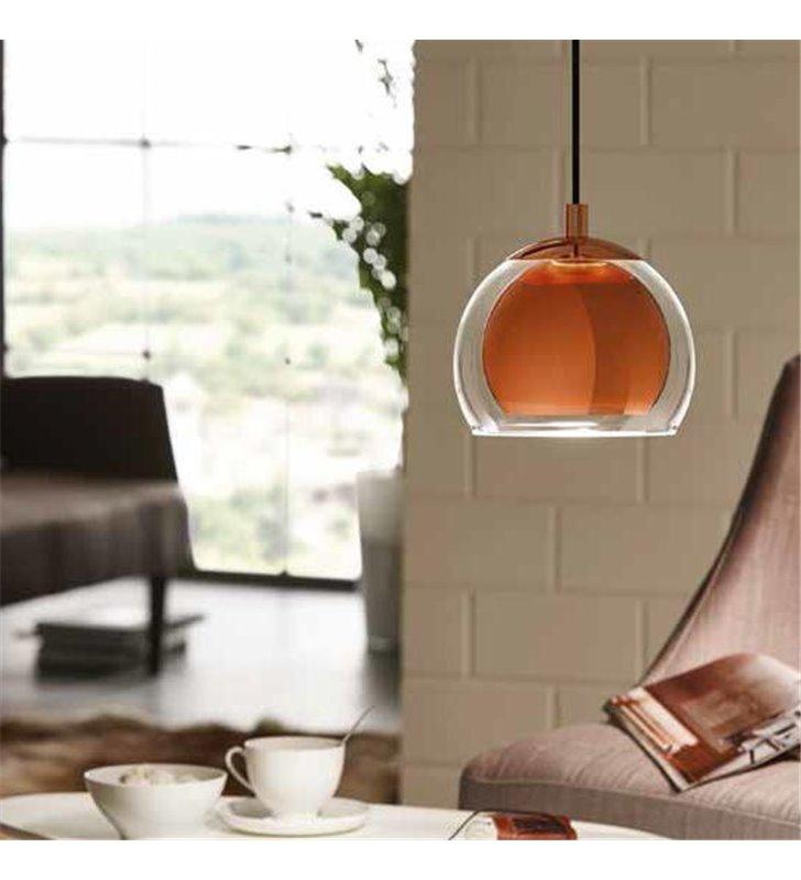 Rocamar pojedyncza lampa wisząca z podwójnym kloszem szklanym na zewnątrz i metalowym miedzianym wewnątrz