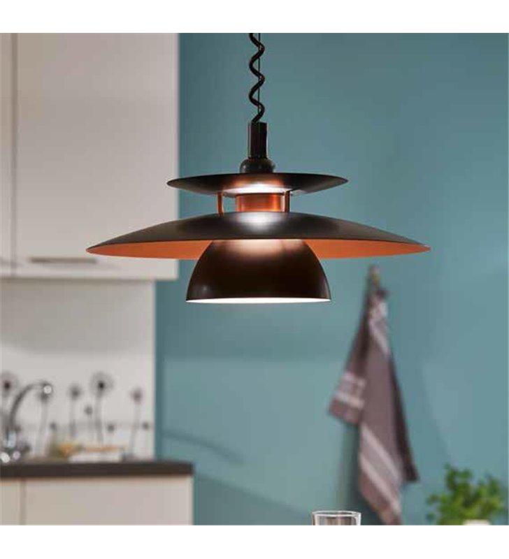 Kuchenna lampa wisząca na sprężynie Brenda czarna z miedzianym środkiem