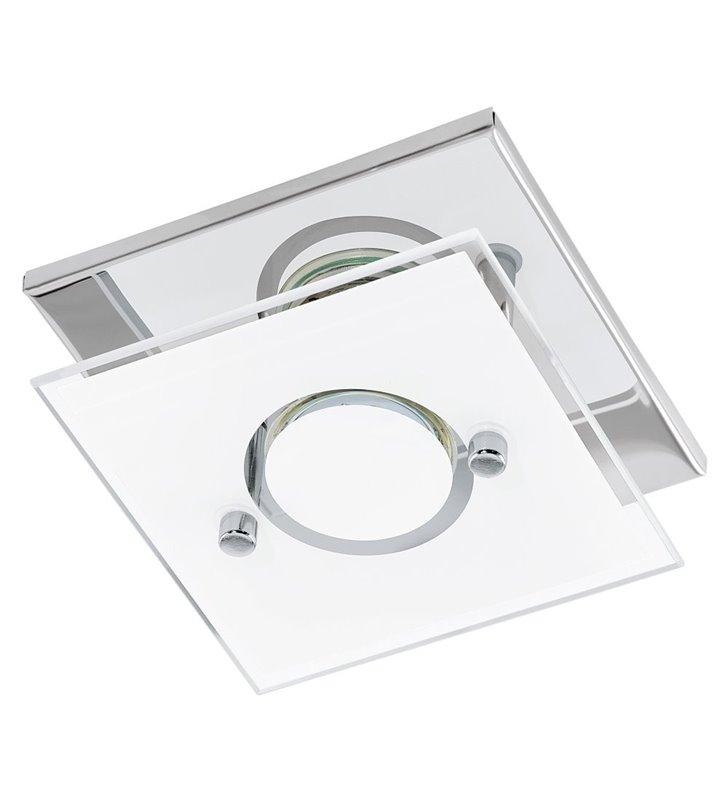 Varallo 135 mały kwadratowy plafon ścienno sufitowy z ozdobnym szklanym kloszem - OD RĘKI