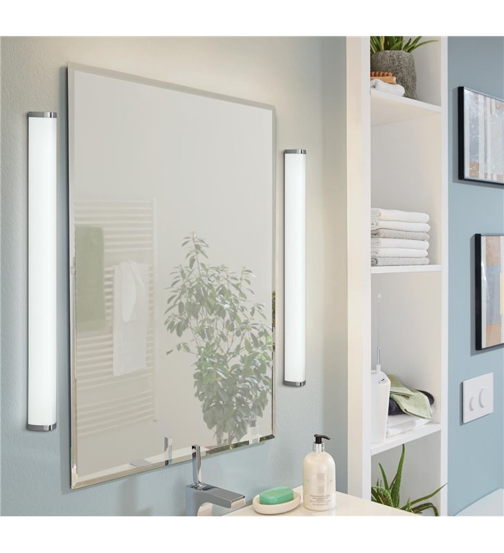 Podłużny 90cm kinkiet łazienkowy Gita2 LED chrom IP44 naturalna barwa światła 4000K