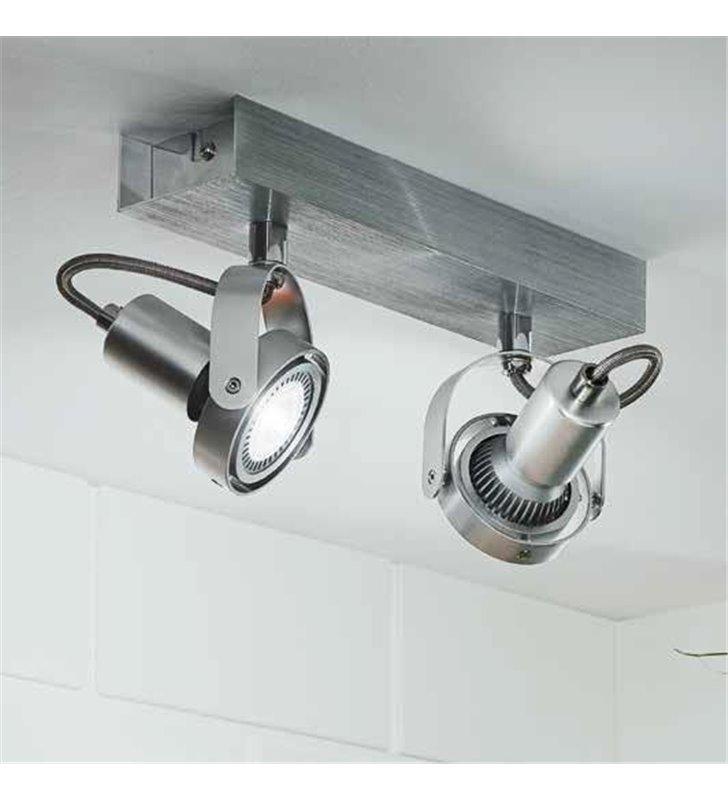 Lampa sufitowa 2 punktowa Novorio kolor aluminium żarówka LED