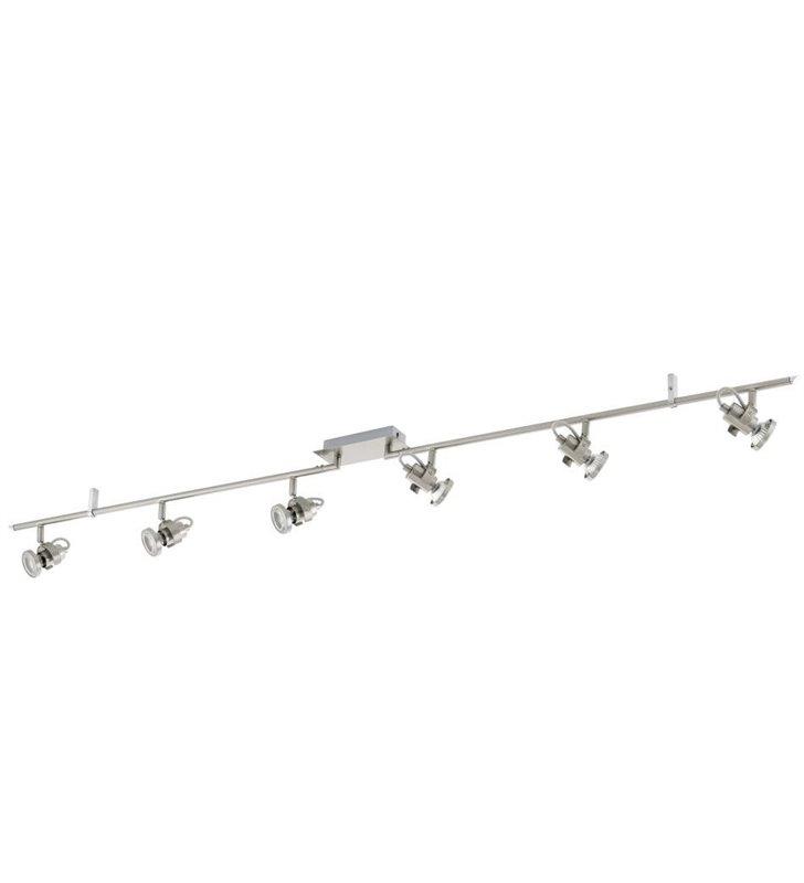 Lampa sufitowa długa listwa sufitowa Tukon3 6 punktowy spot nikiel satynowany żarówka LED