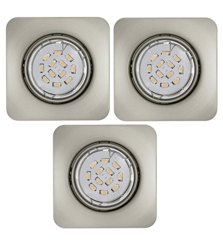 Kwadratowa oprawa punktowa Peneto żarówka LED nikiel satynowany - 3 szt. w komplecie - OD RĘKI