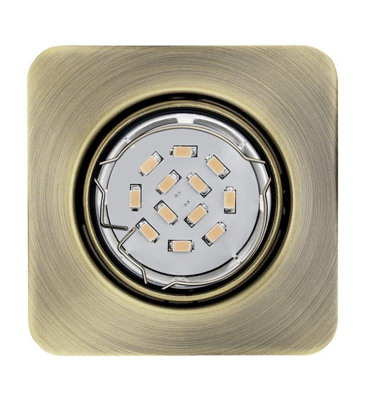 Kwadratowa oprawa punktowa Peneto żarówka LED patyna