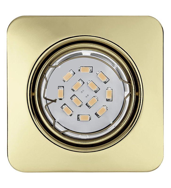 Kwadratowa oprawa punktowa Peneto żarówka LED mosiądz