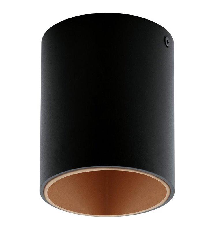 Lampa sufitowa downlight Polasso okrągła czarna wewnątrz miedziana