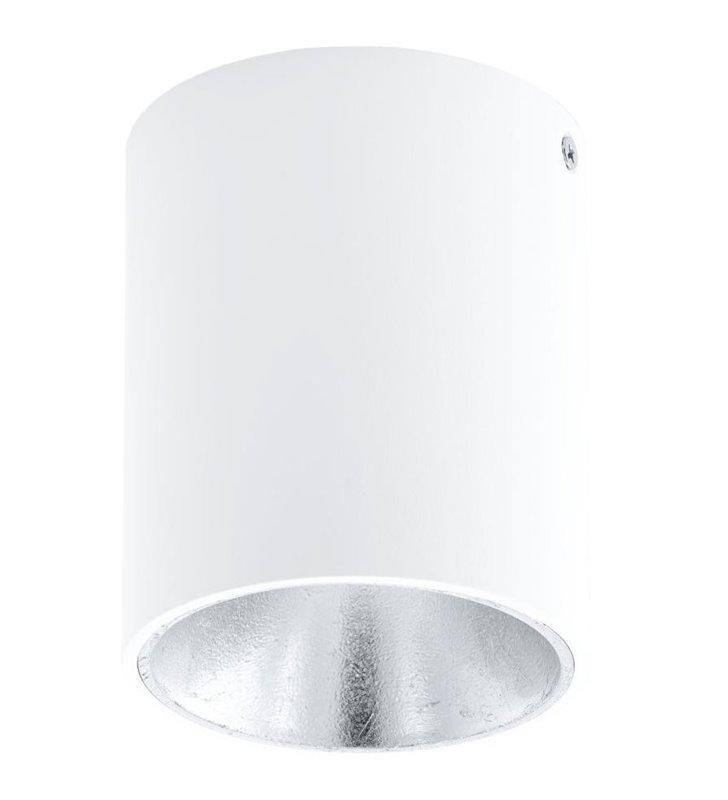 Lampa sufitowa downlight Polasso okrągła biała wewnątrz srebrna