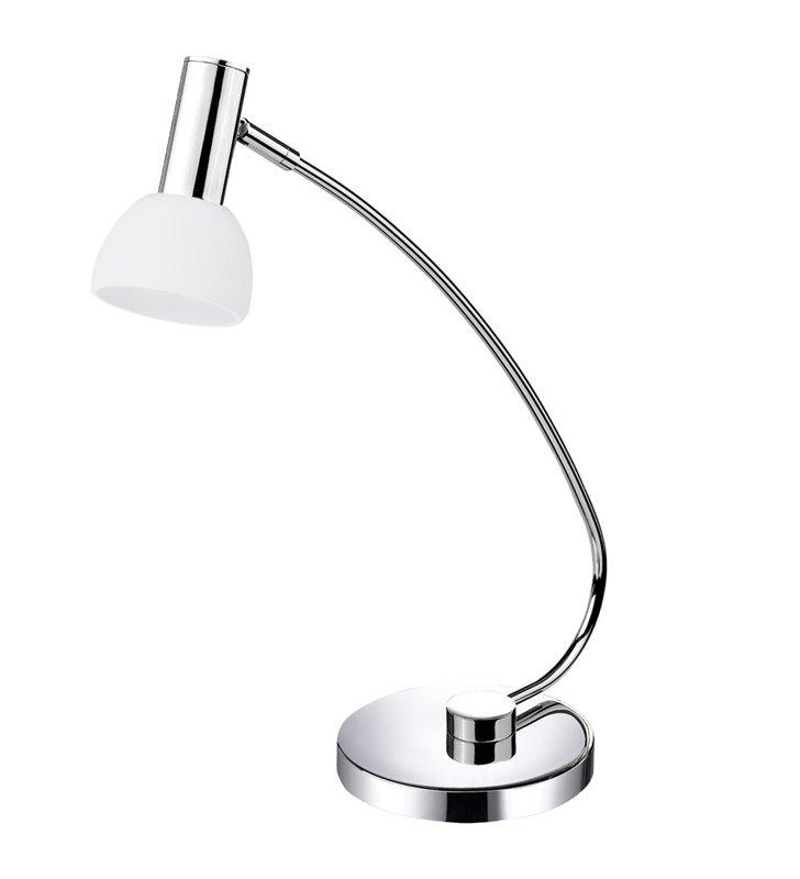 Lampa biurkowa Glossy1 chrom biały szklany klosz LED