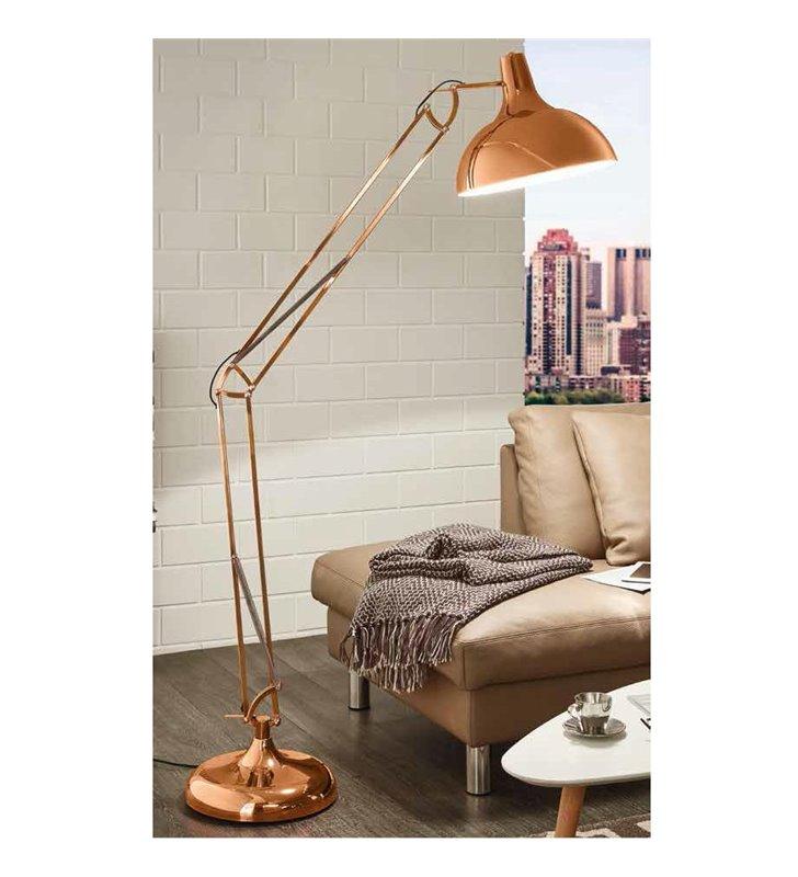 Lampa podłogowa Borgillio nowoczesna metalowa łamana miedziana