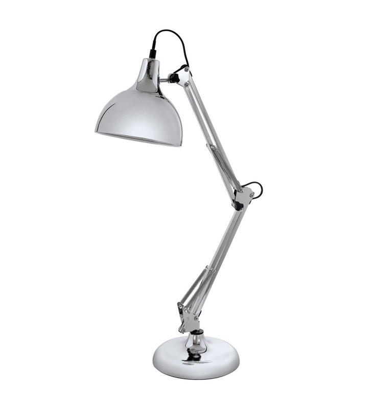 Lampa biurkowa Borgillio chromowana metalowa wysoka łamana E27