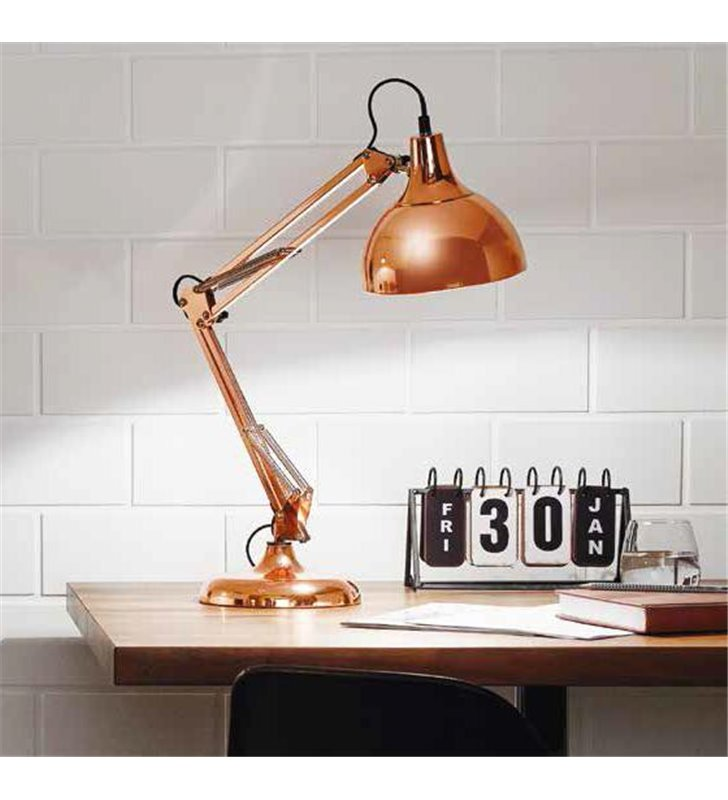 Lampa biurkowa Borgillio miedziana metalowa wysoka łamana E27